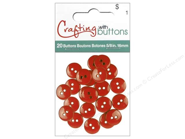 Crafting With Buttons Colors Button 5/8 in. Red 20 pc.