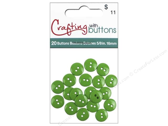 Crafting With Buttons Colors Button 5/8 in. Grass 20 pc.