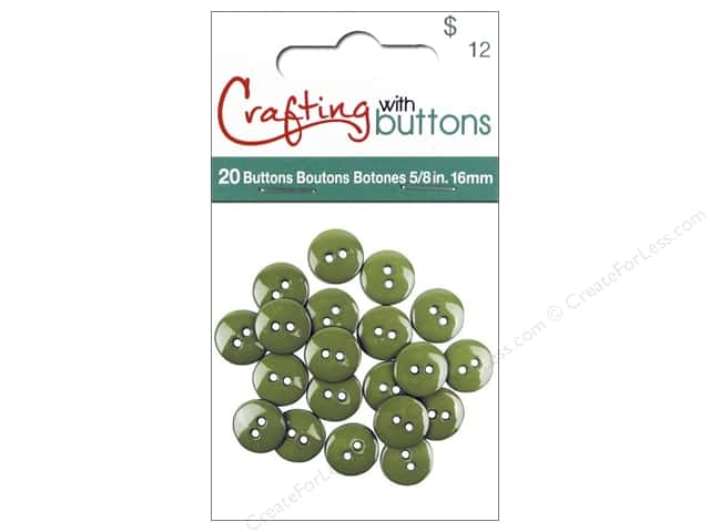 Crafting With Buttons Colors Button 5/8 in. Fern 20 pc.