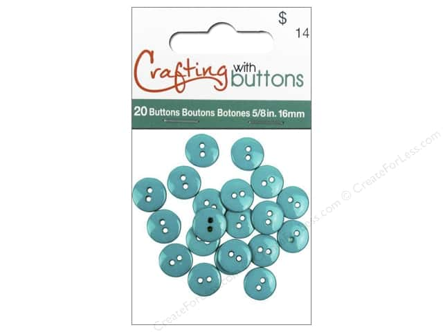 Crafting With Buttons Colors Button 5/8 in. Turquoise 20 pc.