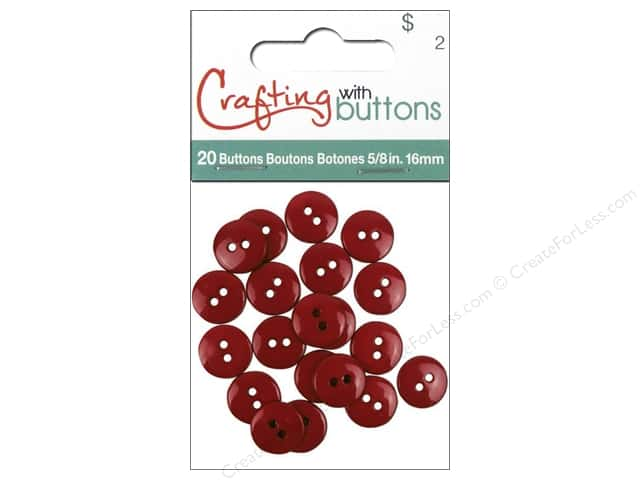 Crafting With Buttons Colors Button 5/8 in. Cranberry 20 pc.