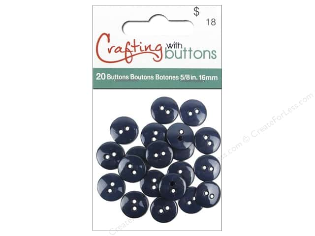 Crafting With Buttons Colors Button 5/8 in. Navy Blue 20 pc.