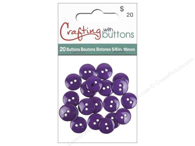 Crafting With Buttons Colors Button 5/8 in. Purple 20 pc.