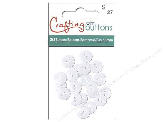 Crafting With Buttons Colors Button 5/8 in. White 20 pc.