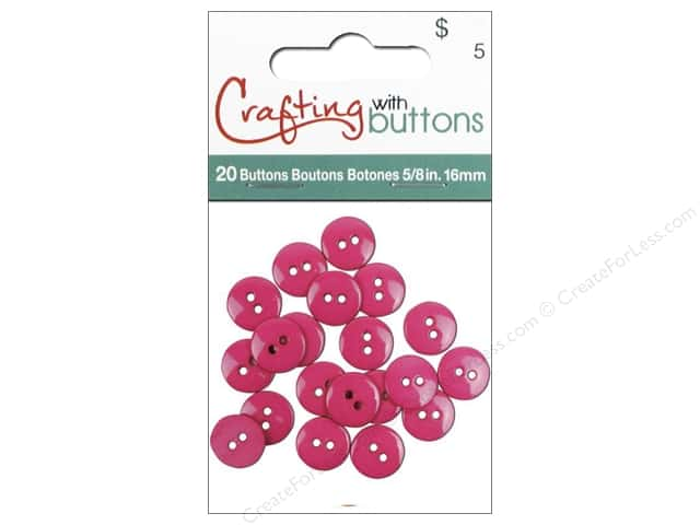 Crafting With Buttons Colors Button 5/8 in. Carnation 20 pc.