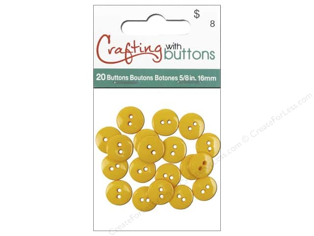 Crafting With Buttons Colors Button 5/8 in. Yellow 20 pc.