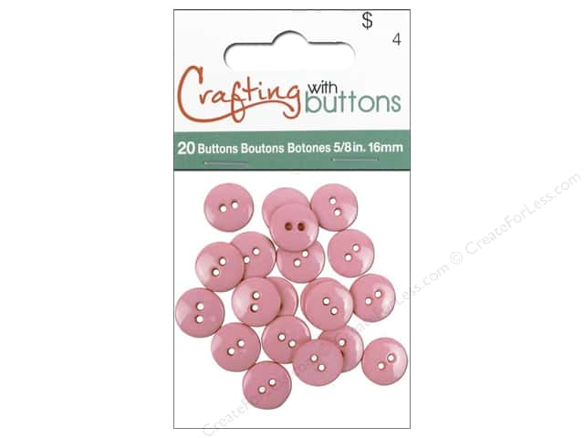 Crafting With Buttons Colors Button 5/8 in. Pink 20 pc.