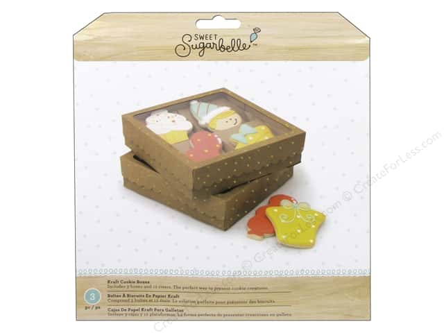 American Crafts Sweet Sugarbelle Four Cookie Box Kraft & Gold 3 pc.