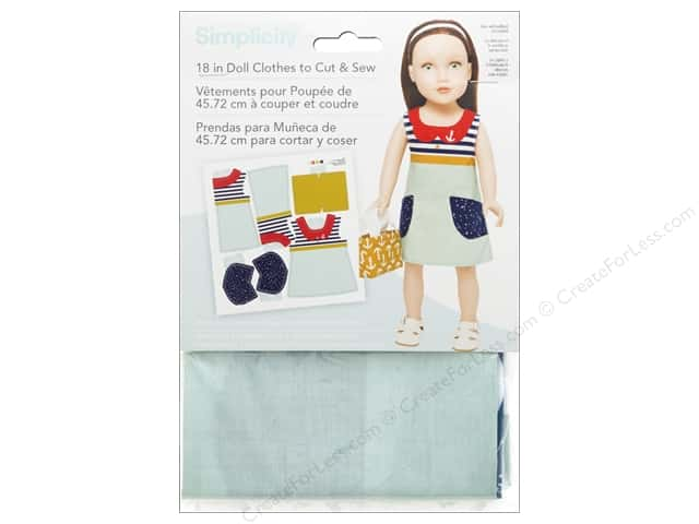 "Simplicity Doll Clothes 18"" Jumper & Bag Aqua/Stripe"