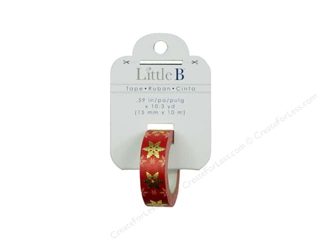 Little B Decorative Paper Tape 5/8 in. Gold Foil Red & White Snowflake