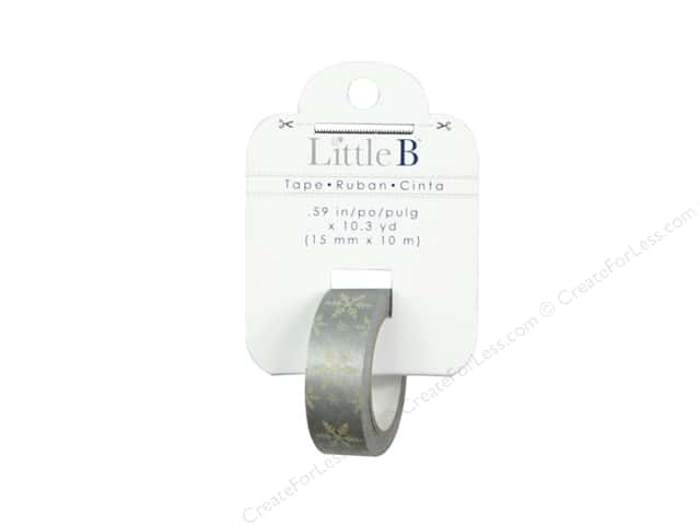 Little B Decorative Paper Tape 5/8 in. Metallic Cream Snowflake