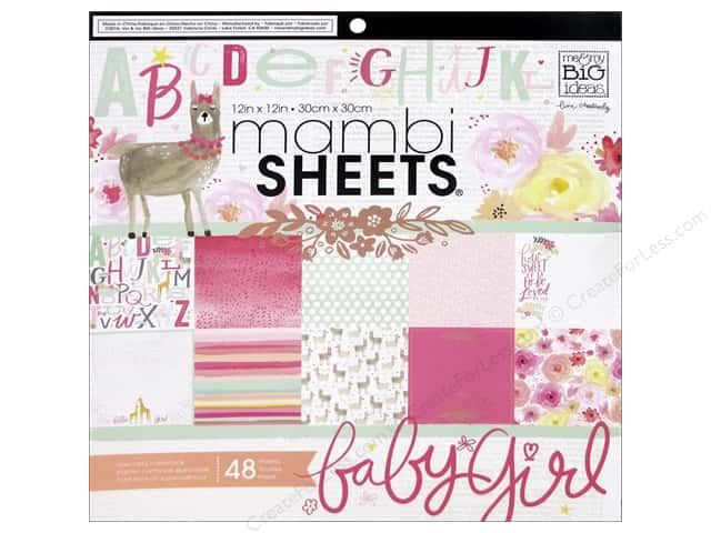 "MAMBI Sheets Cardstock Pad 12""x 12"" She's So Lovely"