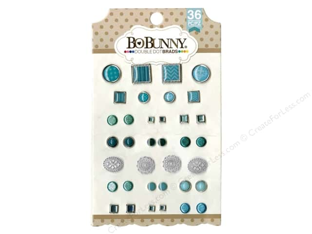 Bo Bunny Double Dot Brads 36 pc. Aqua