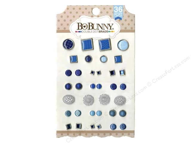 Bo Bunny Double Dot Brads 36 pc. Blue Hues