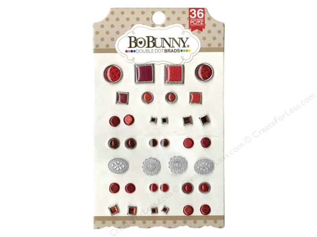 Bo Bunny Double Dot Brads 36 pc. Ruby Red