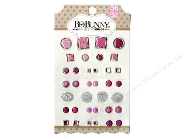 Bo Bunny Double Dot Brads 36 pc. Think Pink