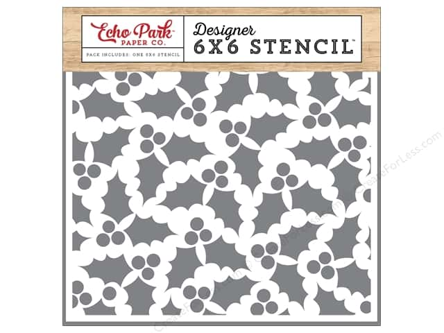 Echo Park Designer Stencil 6 x 6 in. I Love Christmas Holly & Berries #2