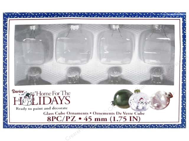 "Darice Decor Holiday Glass Ornament Cube 1.75"" 8pc"