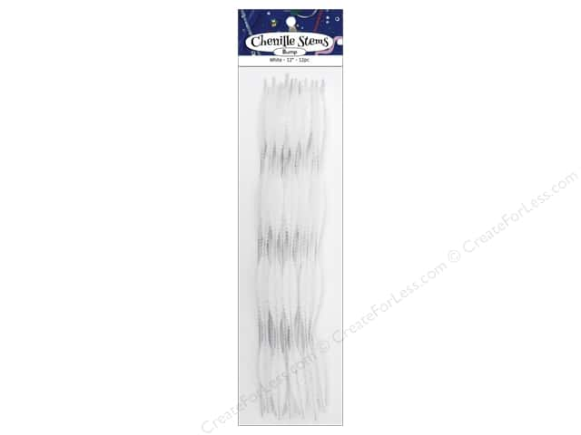 Bump Chenille Stems by Accents Design 15 mm x 12 in. White 12 pc.