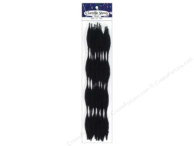 Bump Chenille Stems by Accents Design 15 mm x 12 in. Black 12 pc.