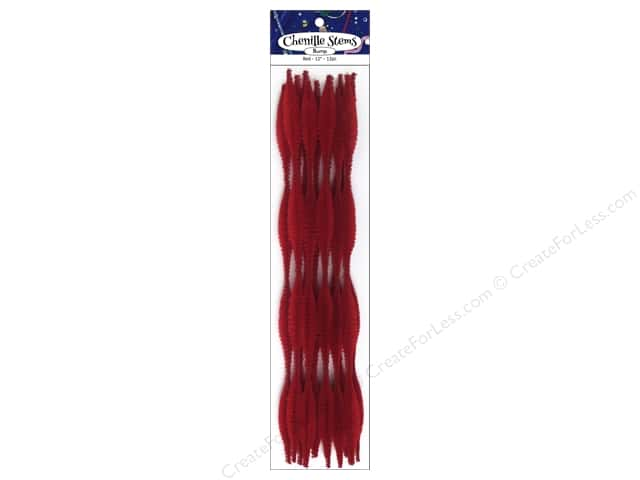 PA Essentials Bump Chenille Stems 15 mm x 12 in. Red 12 pc.