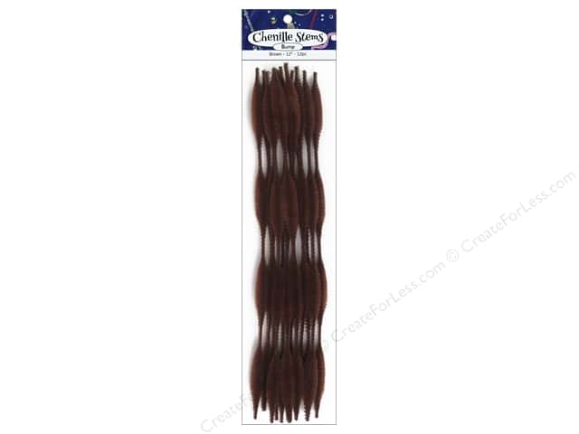 PA Essentials Bump Chenille Stems 15 mm x 12 in. Brown 12 pc.