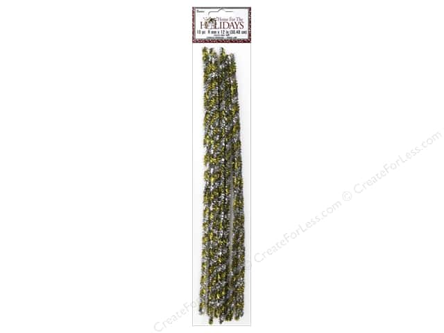 "Darice Chenille Stems 8mm 12"" Tinsel Gold/Silver Twist 10pc"