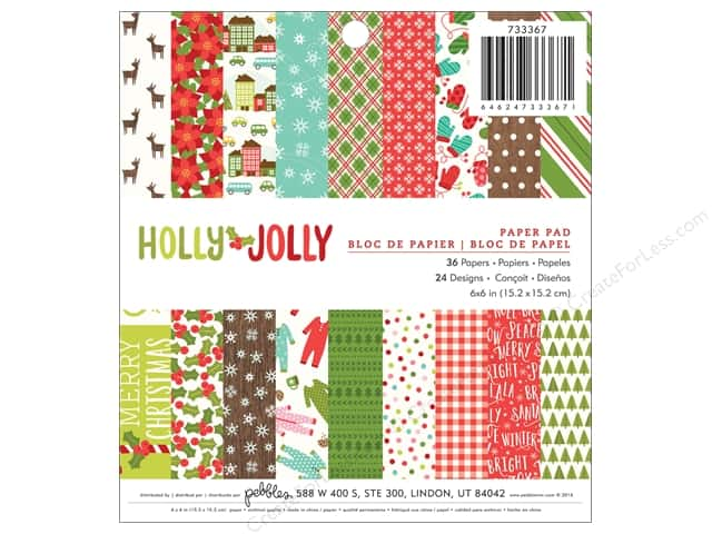 Pebbles 6 x 6 in. Paper Pad Holly Jolly