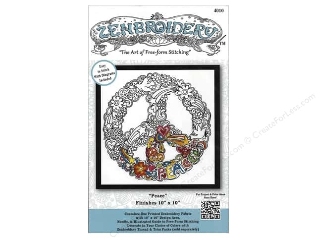 Design Works Zenbroidery Stamped Embroidery Fabric Kit 10 x 10 in. Peace