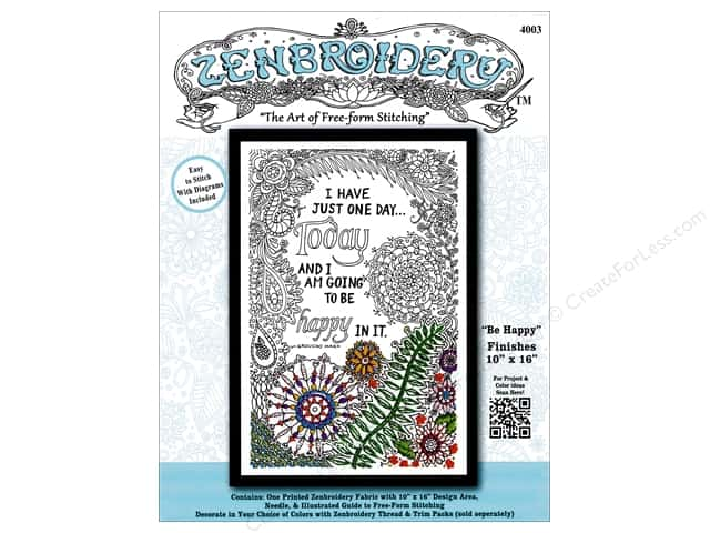 Design Works Zenbroidery Stamped Embroidery Fabric Kit 10 x 16 in. Be Happy