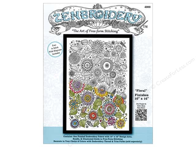 Design Works Zenbroidery Stamped Embroidery Fabric Kit 10 x 16 in. Floral