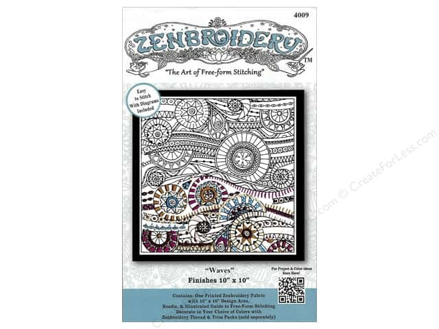 Design Works Zenbroidery Stamped Embroidery Fabric Kit 10 x 10 in. Waves