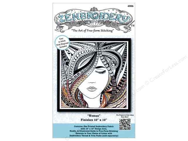 Design Works Zenbroidery Stamped Embroidery Fabric Kit 10 x 10 in. Woman