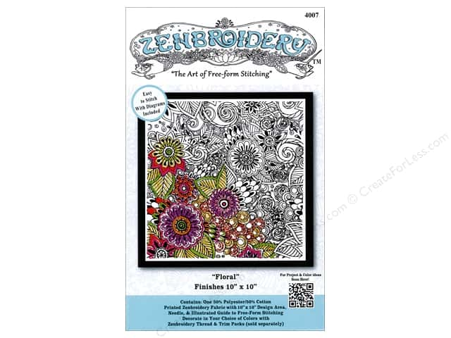 Design Works Zenbroidery Stamped Embroidery Fabric Kit 10 x 10 in. Floral