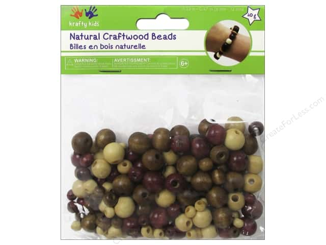 Multicraft Bead Wood 6mm-12mm Natural Round Medley 40g