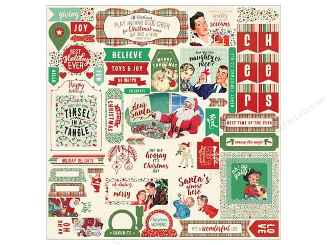 Authentique Stickers Retro Christmas Details (12 sets)