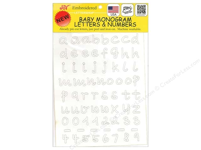 "Joy Applique Letter Iron On Monogram Baby 1/2"" Lower Case White"