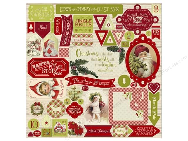 Authentique Stickers Classic Christmas Detail (12 pieces)