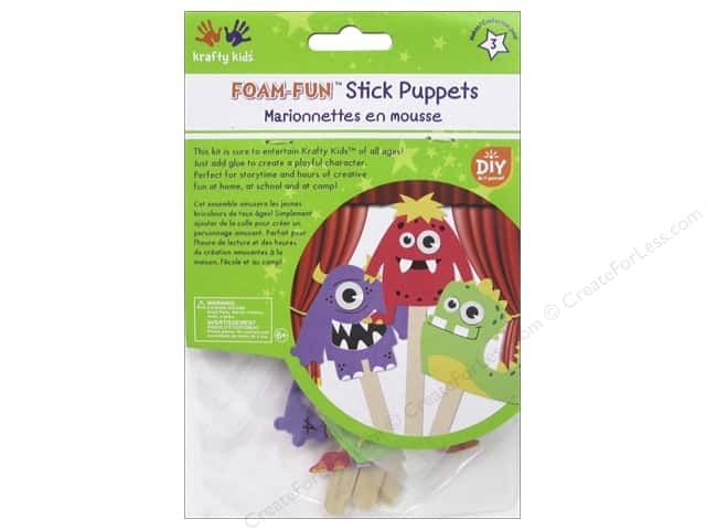 Multicraft Krafty Kids DIY Stick Foam Puppets Monster Pals