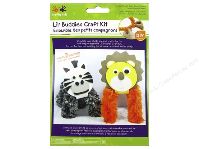 Multicraft Krafty Kids DIY Craft Kit Lil' Buddies Lion/Zebra