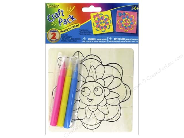 Darice Color-In Wood Puzzle Kit - Flowers