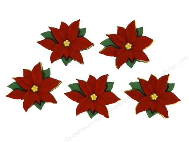 Jesse James Dress It Up Embellishments Holiday Red Poinsettias