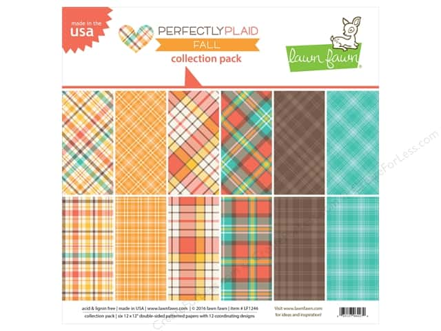 """Lawn Fawn Collection Perfectly Plaid Collection Pack Fall 12""""x 12"""""""
