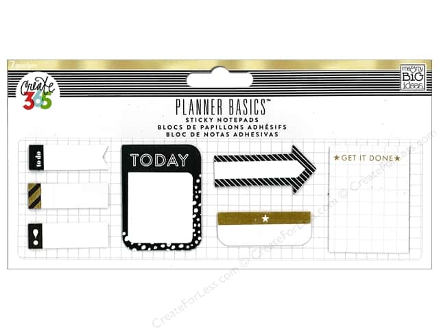 Me&My Big Ideas Create 365 Happy Planner Sticky Notepads Black, White & Gold