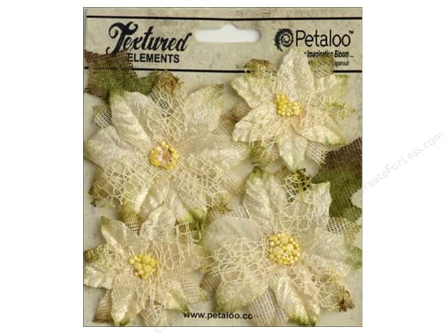 Petaloo Textured Elements Poinsettias Ivory 4pc