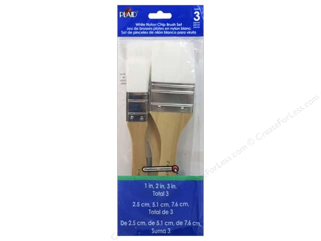 Plaid Paint Brush Set White Nylon Chip 3pc