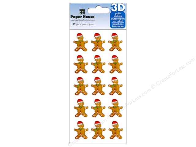 Paper House Sticker 3D Puffy Gingerbread