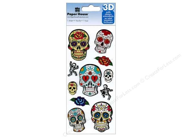 Paper House Sticker 3D Puffy Sugar Skulls