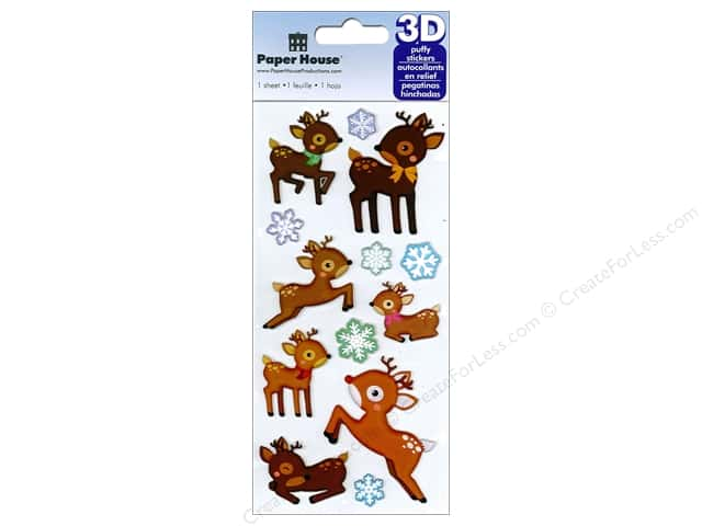 Paper House Sticker 3D Puffy Reindeer