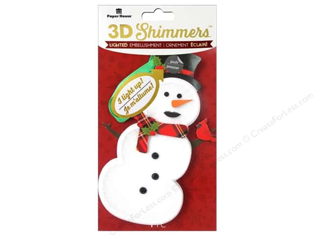 Paper House Sticker 3D LED Shimmer Snowman